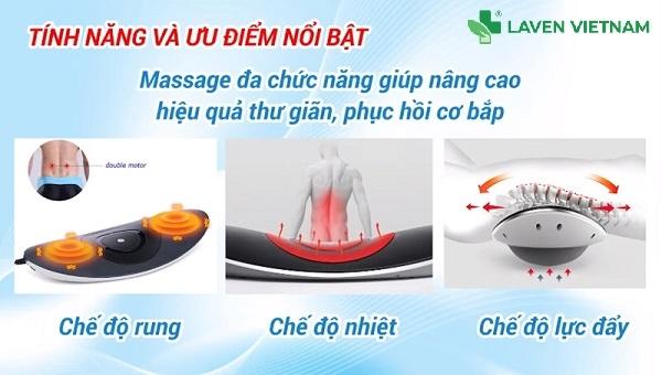 Máy massage lưng là sự kết hợp giữa hệ thống trị liệu và hệ thống ánh sáng máu nhằm cung cấp nguồn nhiệt liên tục