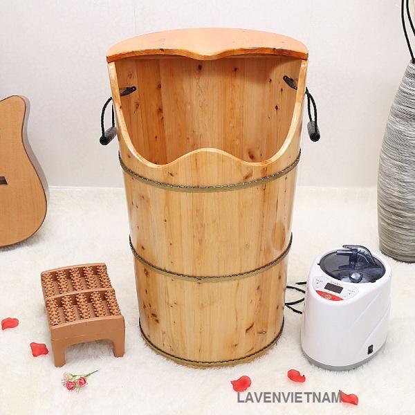 Thùng gỗ xông chân có kỹ thuật ghép mộng âm dương chống rò rỉ