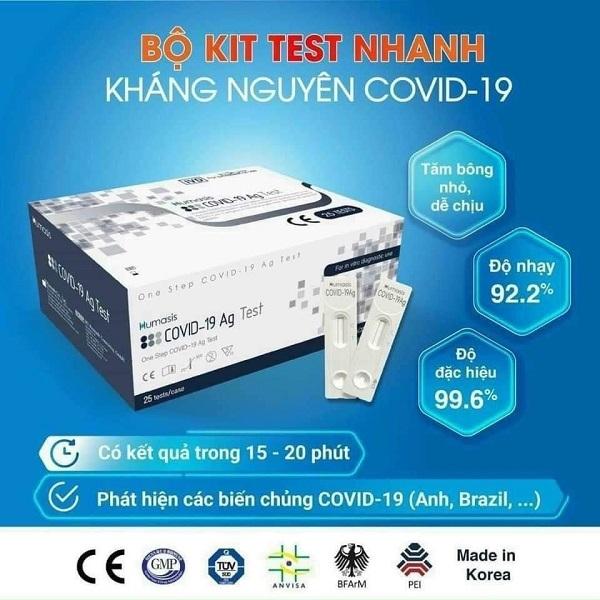 Bộ test nhanh covid Humasis AG Sar COV 2 được chấp thuận bởi MFDA (FDA), tỉ lệ chính xác cao.