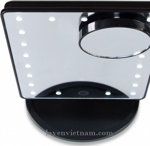 Gương vuông trang điểm đèn LED RIO MMSP phóng đại 10 lần