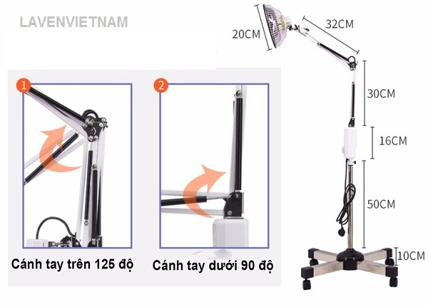 Kích thước của đèn tần phổ chân cao