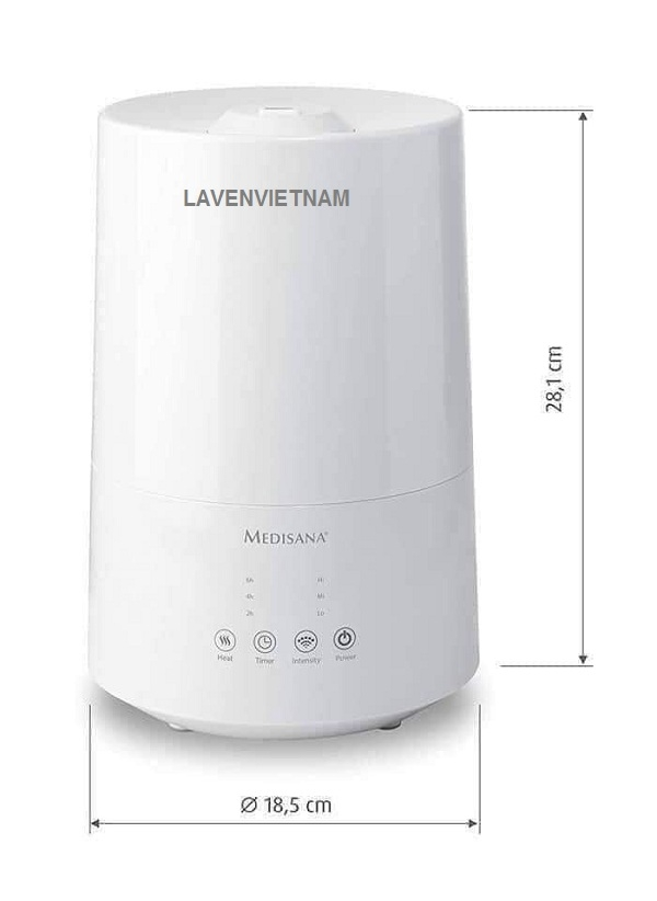 Kích thước của Máy tạo độ ẩm Medisana AH661 có khuếch tán tinh dầu