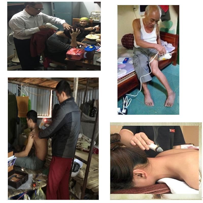 Khách hàng sử dụng Máy cứu ngải Maxonga Hải Phòng để cứu đau đầu, lưng, vai gáy