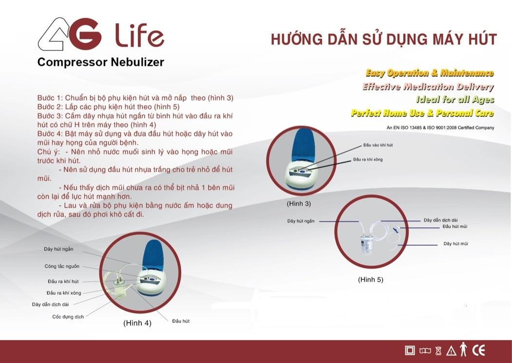Hướng dẫn sử dụng hút dịch từ Máy xông hút mũi họng AGLife Hi Baby