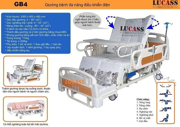Giường bệnh nhân điều khiển điện Lucass GB4