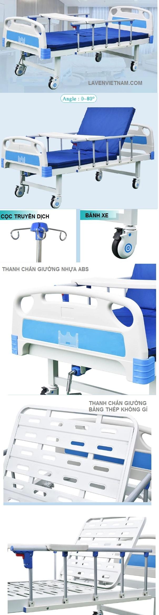 Chi tiết cấu hình và hình ảnh Giường bệnh nhân 1 tay quay TaJerMy G01B