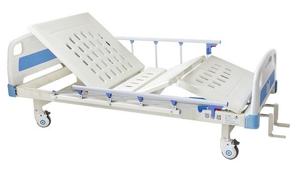 Giường bệnh nhân 2 tay quay M16 có thể nâng lưng và hạ đầu gối