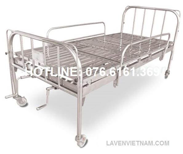 Giường bệnh nhân inox 2 tay quay có bô vệ sinh
