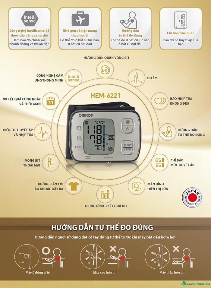 Những thông tin về sản phẩm máy đo huyết áp HEM-6221