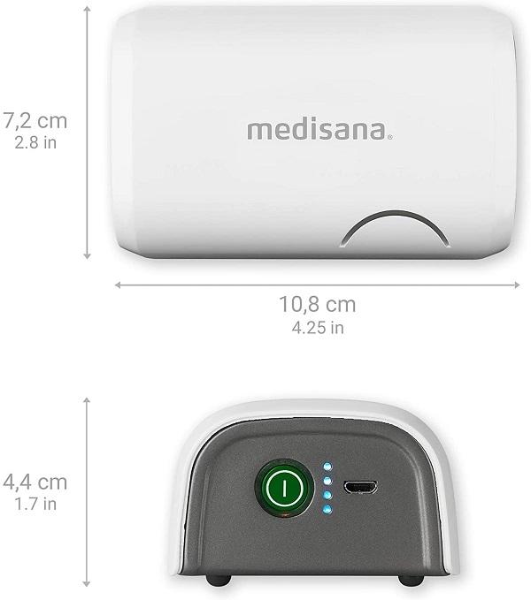 Kích thước của sản phẩm Máy xông mũi họng Medisana IN605