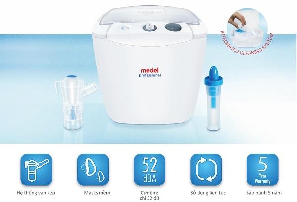 Liệu pháp sử dụng Máy xông mũi họng Medel Professional sẽ mang lại hiệu quả giảm đau rõ rệt và hỗ trợ điều trị cho những người bị viêm phổi mãn tính, COPD, viêm phế quản cấp và các bệnh lý khác của đường hô hấp dưới.