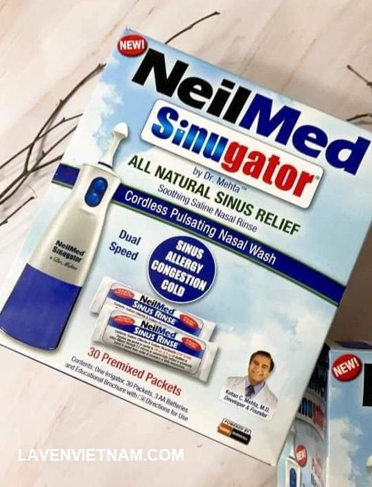 NeilMed Sinugator - Dụng cụ rửa mũi không dùng dây với 30 gói hỗn hợp pha trộn của USP Grade Sodium Chloride & Sodium Bicarbonate