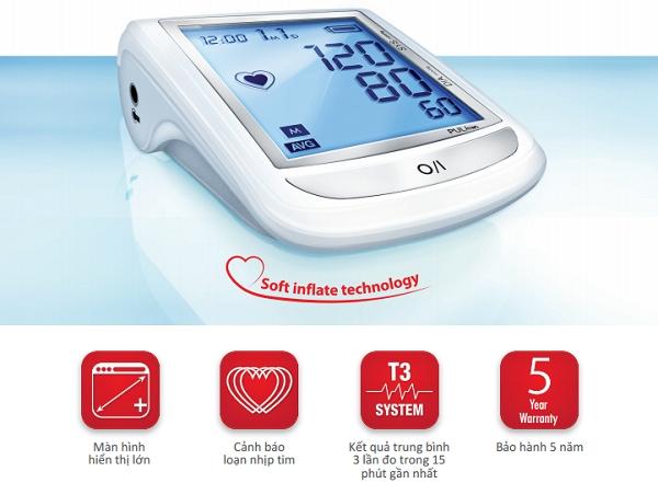 Máy đo huyết áp Medel ELITE được cung cấp chức năng T3 cho phép tính giá trị trung bình của 3 lần đọc gần nhất một cách đơn giản và tự động. Với màn hình đèn nền lớn giúp đọc phép đo dễ dàng và rõ ràng.