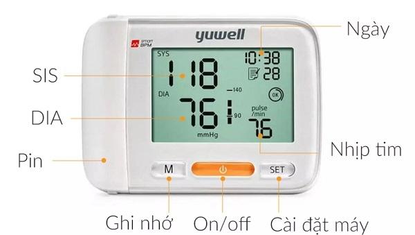 Cài đặt thông số máy hiển thị của Máy đo huyết áp cổ tay Yuwell 8600A