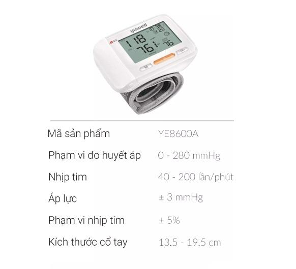 Thông số kỹ thuật Máy đo huyết áp điện tử cổ tay Yuwell 8600A