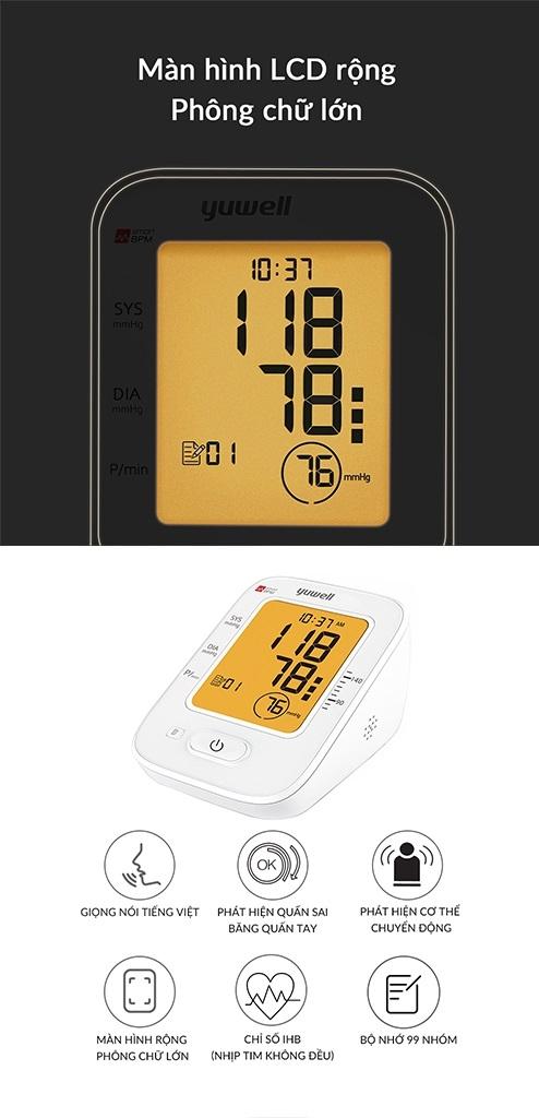 Máy đo huyết áp điện tử bắp tay Yuwell 620B có màn hình LCD rộng với chữ lớn