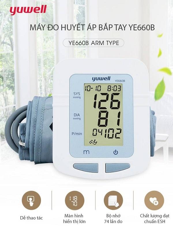 Yuwell YE660B có chức năng đo huyết áp tối đa, huyết áp tối thiểu, nhịp tim, chức năng báo nhịp tim rối loạn và cột báo mức độ huyết áp
