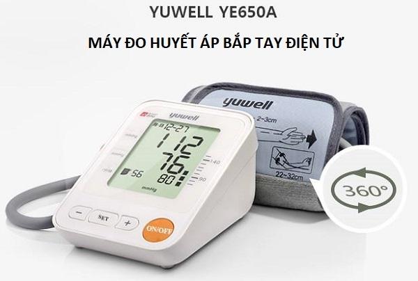 Máy đo huyết áp điện tử Yuwell YE650A là sản phẩm theo dõi huyết áp, nhịp tim hoàn toàn tự động có màn hình lớn với kết quả cùng thòi gian ngày tháng được hiển thị rõ nét và dễ nhìn.