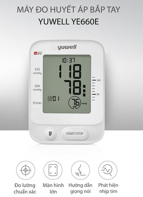 Máy đo huyết áp điện tử Yuwell YE660E nhỏ gọn, tiện lợi mang theo
