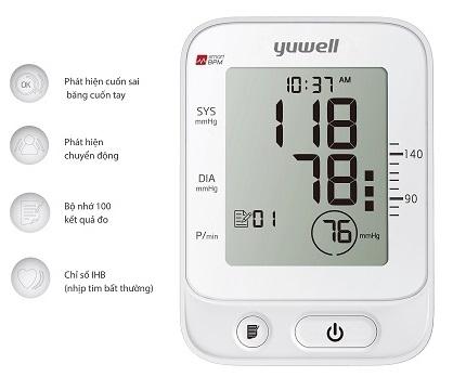 Yuwell YE660E có Chức năng cảnh báo huyết áp, nhịp tim bình thường
