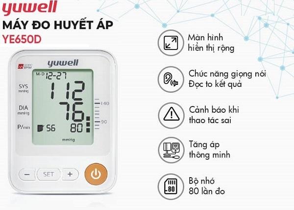 Máy đo huyết áp điện tử Yuwell YE650D cảnh báo nhịp tim cao