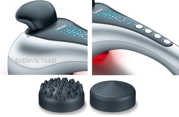 Máy massage cầm tay có đèn hồng ngoại Beurer MG100 có chức năng xoa bóp nhẹ nhàng, giúp bạn thư giãn hoặc kích thích, phổ biến để điều trị các chứng cứng, căng, đau và mỏi cơ. Máy cũng có tác dụng mát xa mạnh và sâu cho phần lưng