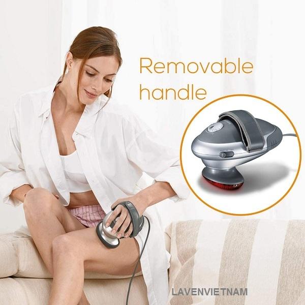Tay cầm có thể tháo rời, điều chỉnh cường độ xoa bóp liên tục với 2 phụ kiện massage rời giúp tay cầm không cầm không bị trơn trượt massage nhanh và đơn giản hơn.