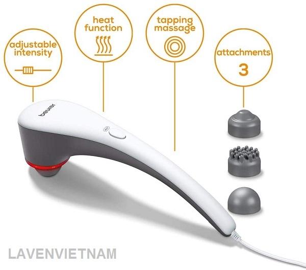 Máy mát xa cầm tay Beurer MG55 có chức năng xoa bóp nhẹ nhàng, giúp bạn thư giãn hoặc kích thích, phổ biến để điều trị các chứng cứng, căng, đau và mỏi cơ. Máy cũng có tác dụng mát xa mạnh và sâu cho phần lưng