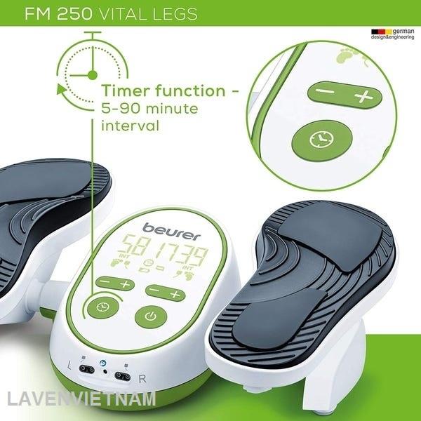 Máy kích thích lưu thông bàn chân EMS Beurer FM250 cũng có bộ đếm thời gian điều trị từ 5 đến 90 phút và chức năng tự động tắt khi điều trị xong.
