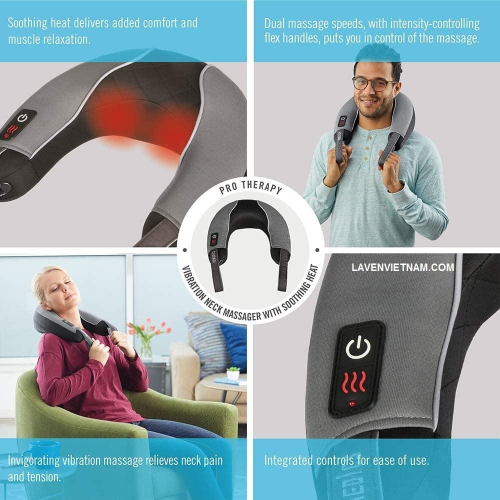 Tập thể dục hoặc xoa dịu căng thẳng với Đai massage cổ vai gáy HoMedics NMSQ-217HJ kèm nhiệt hồng ngoại