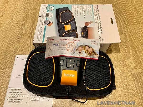 Trọn bộ sản phẩm Đai massage bụng Beurer EM32