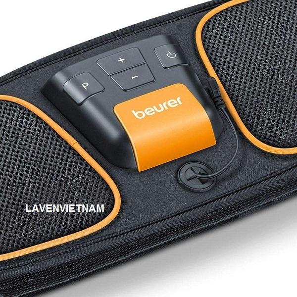 Bộ phận điều khiển của Beurer EM32 có thể tháo rời của đai bụng có chức năng tắt an toàn, chức năng tạm dừng, tự động tắt và khóa nút, đai phù hợp với chu vi bụng từ 70 140 cm