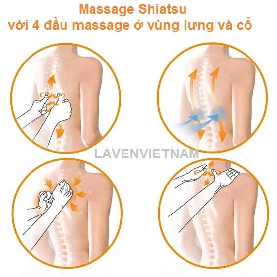 Chức năng 3 trong 1: Tận hưởng massage shiatsu thư giãn ở vùng lưng, cổ và đùi