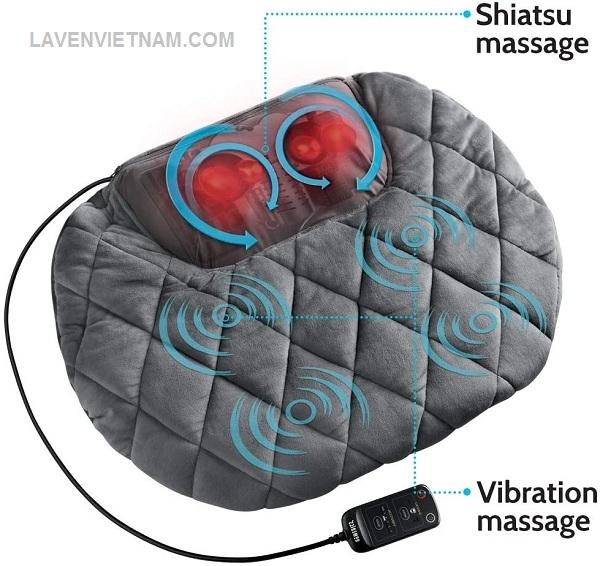 Gối massage Shiatsu body kèm nhiệt Homedics SP-129 sử dụng cơ chế shiatsu tác động vào sâu để thả lỏng các cơ bị căng và bao gồm các tùy chọn nhiệt và rung để làm dịu các cơ căng thẳng