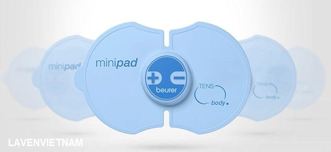 Máy massage xung điện cơ thể Beurer EM10 mini (EM 10) làm giảm đau cơ thể với miếng dán tựa như một con bướm nhỏ sử dụng cơ chế TENS dễ sử dụng và kín đáo.