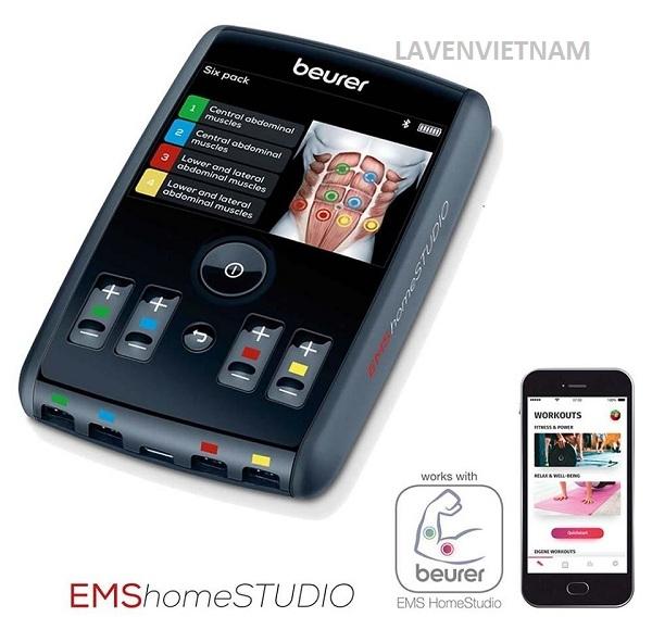 Bạn có thể kết nối với ứng dụng ′′ Beurer EMS HomeStudio ′′ trên điện thoại thông minh của bạn qua Bluetooth ®. Một huấn luyện viên ảo cũng có thể hỗ trợ bạn. Theo dõi hiệu suất của bạn và ghi lại tiến trình của bạn.