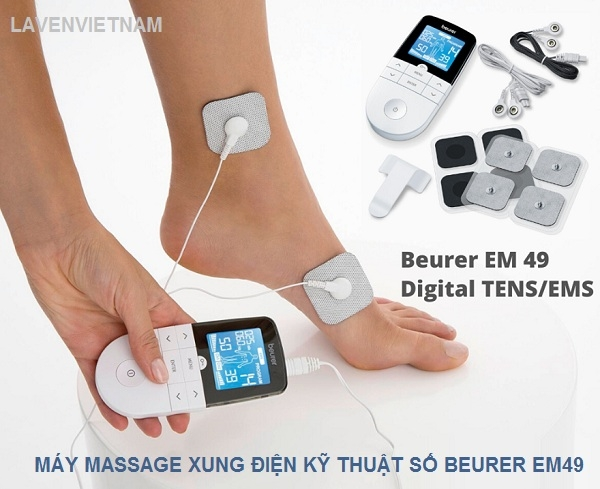 Máy massage xung điện Beurer EM49 được trang bị 3 chức năng kích thích điện: TENS, EMS, massage. Bạn cũng có thể tùy chỉnh các chương trình riêng lẻ theo nhu cầu của mình