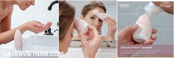 Blossom Mini Facial Silicone Cleanser – HoMedics FAC-001- (Máy rửa mặt mini silicone công nghệ siêu âm HoMedics FAC-001)
