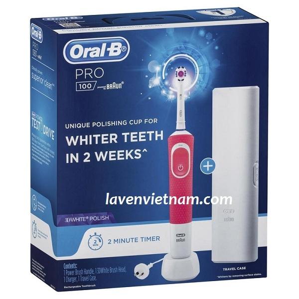 Bàn chải đánh răng điện Oral B Pro 100 3D White màu hồng