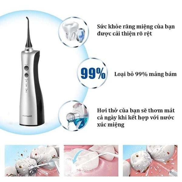 Sử dụng nó trong miệng với một góc nhất định (90 ° được khuyến nghị) và nhẹ nhàng khép môi khi làm sạch.