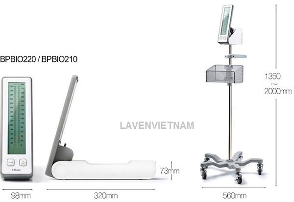 Kích thước của Máy đo huyết áp bán tự động InBody BPBIO210