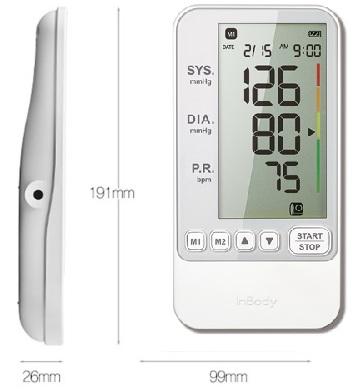 Kích thước của máy đo huyết áp Inbody