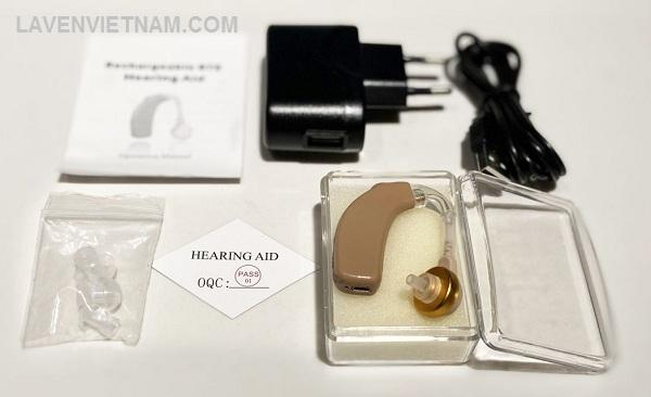 Trọn bộ sản phẩm Máy trợ thính Axon C108 đeo vành tai có sạc