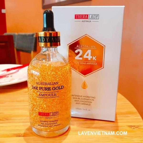 Serum tinh chất vàng Thera Lady 24k Hỗ trợ điều trị mụn, viêm da, sẹo rỗ hiệu quả, chống viêm da (Thích hợp với nhiều tình trạng da, lợi ích đặc biệt cho làn da khô ráp mỏng manh và loại da hỗn hợp)
