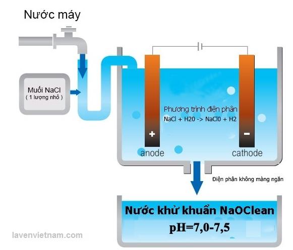 Cơ chế điện phân không màng ngăn tạo ra dung dịch khử khuẩn Anolyte NaOClean