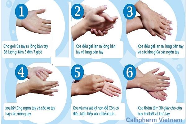 các bước rửa tay khô bằng dung dịch rửa tay khô Callipharm
