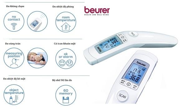 Nhiệt kế điện tử đo trán hồng ngoại Beurer FT90 với đầy đủ chức năng tiện dụng, hiện đại