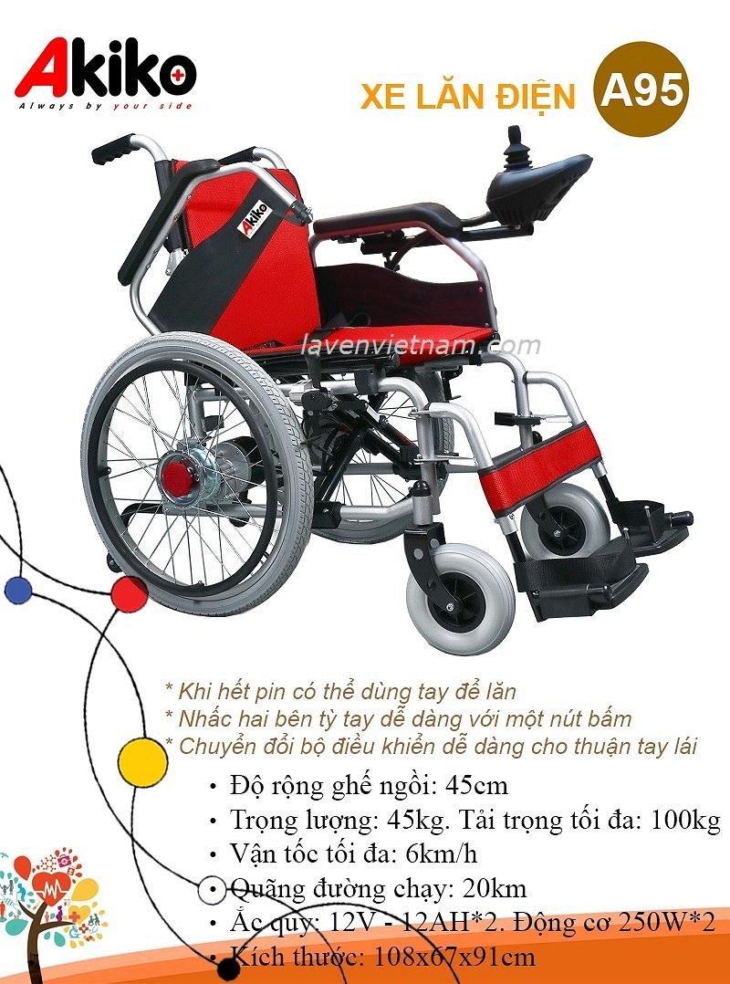 Xe lăn điện Akiko A95 có lăn tay và 2 bộ đệm màu đỏ