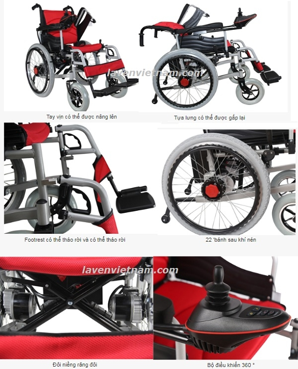 Xe lăn điện Akiko A95 có lăn tay và 2 bộ đệm