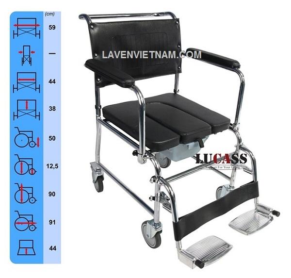 Xe đẩy có bô Lucass GX-900 thiết kế rộng, chắc chắn cho người lớn tuổi sử dụng